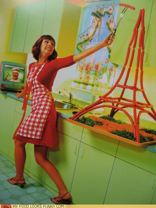 angst eiffel tower hot dogs sausages sculpture weenies wieners - 4842884608
