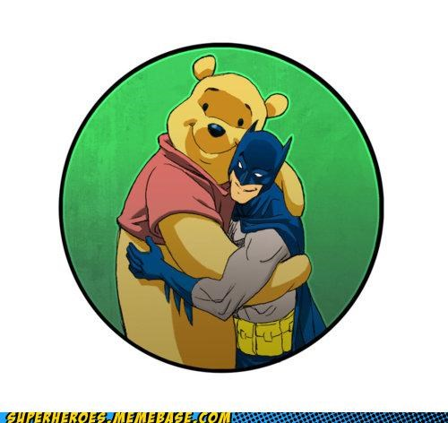 Awesome Art,batman,BFFs,hugs,winnie the pooh