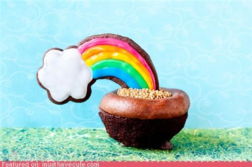chocolate cloud cookies cupcake epicute gold rainbow - 4843429888