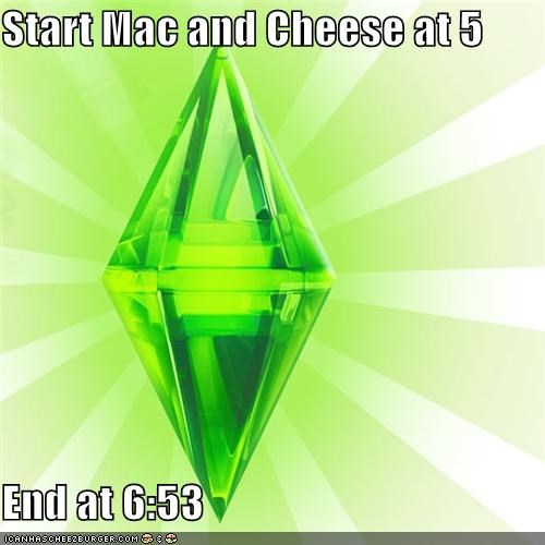 dinner,food,hours,mac and cheese,The Sims