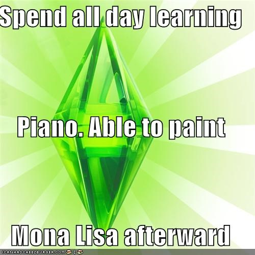arts,logic,mona lisa,paint,piano,The Sims