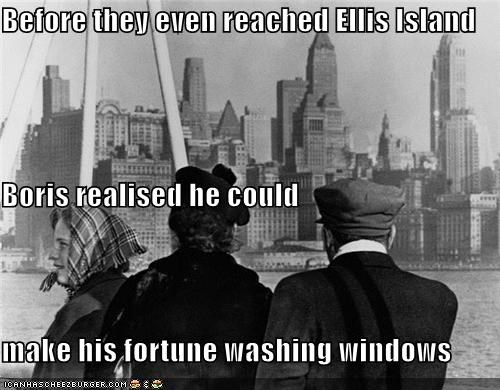 Before they even reached Ellis Island Boris realised he could make his fortune washing windows