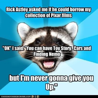 disney,finding nemo,Lame Pun Coon,movies,never gonna give,pixar,rickroll,up