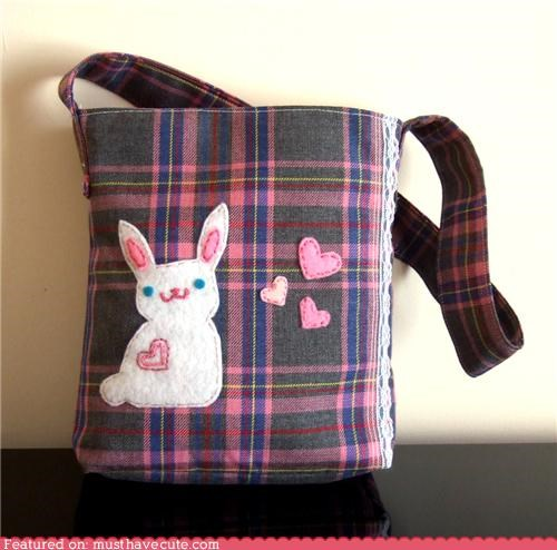 bag,bunny,happy,hearts,love,plaid,tote
