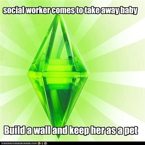 baby,games,pet,social worker,The Sims,video games,wall