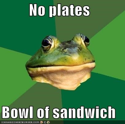 No plates Bowl of sandwich