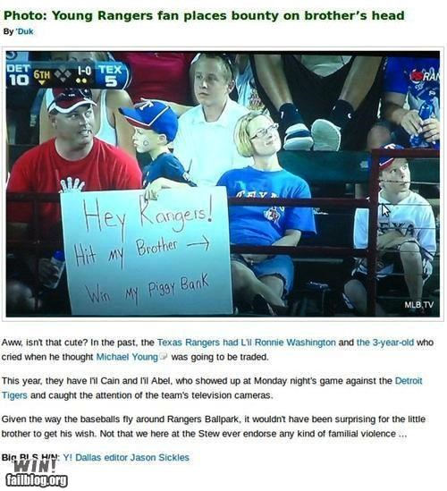 baseball,completely relevant news,little kids,siblings,signs,sports,Up Nex