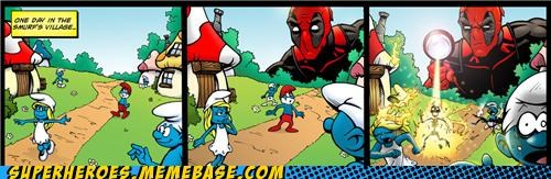 awesome Awesome Art burn deadpool smurfs - 4846252544