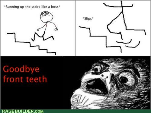 ow,Rage Comics,teeth,trip