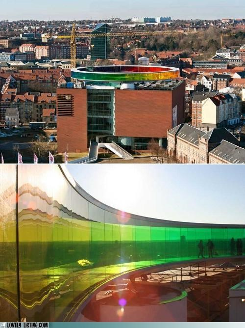 glass,rainbow,rooftop,track,walk