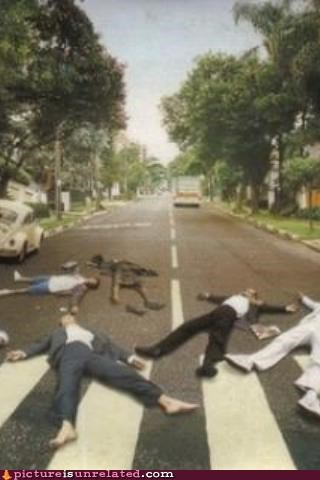 abby road,beatles,car,hit,road,Sad,wtf