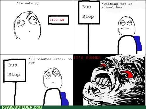 7 am bus stop Rage Comics Rebecca Black summer - 4846527232