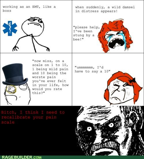 bee emt pain Rage Comics scale