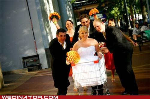 bride,shopping cart,bridal party