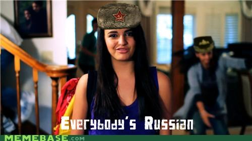 communism,FRIDAY,hat,racing on and on,Rebecca Black,russia