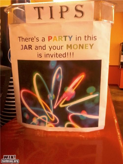 clever,money,Party,tip jar,tips