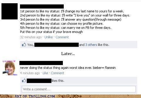Bieber,facebook,FAIL,status