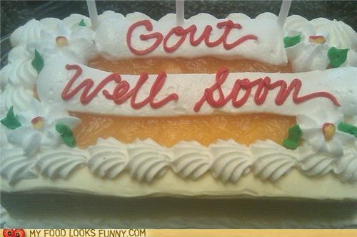cake,get well soon,gout,illness,rich foods