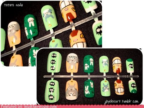acrylics,designs,fashion,nails,style,totoro
