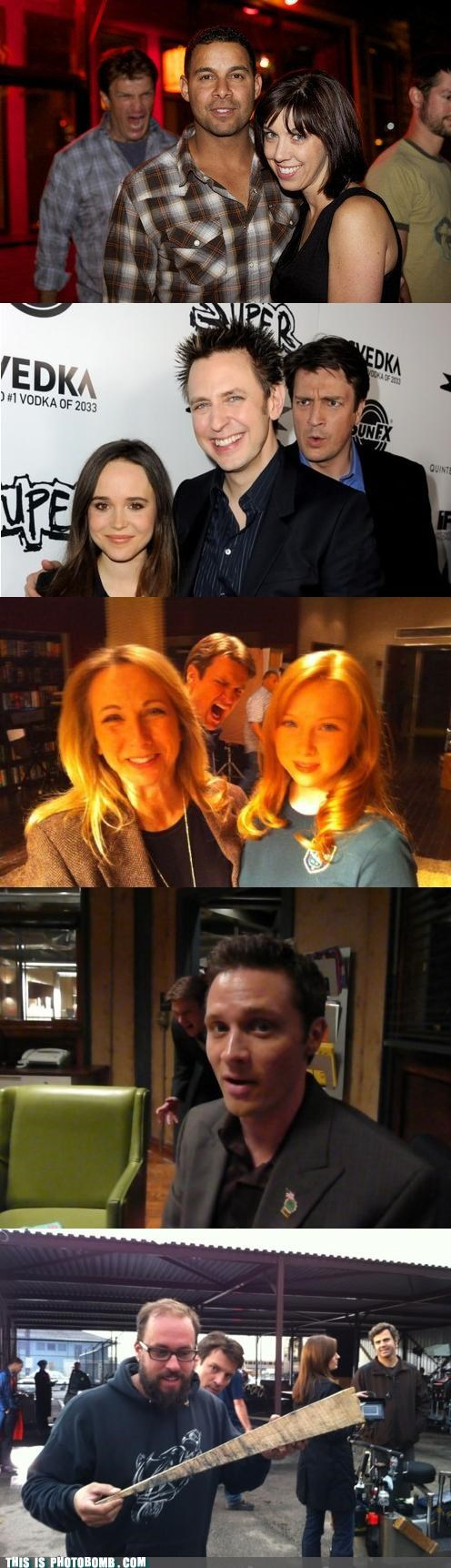 The art of photobombing by Nathan Fillion.