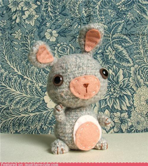 Amigurumi bunny felt grey handmade rabbit - 4849339136