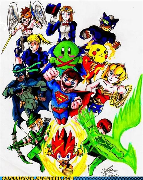 Awesome Art batman flash Green lantern justice league superman video games wonder woman zatanna - 4849890048