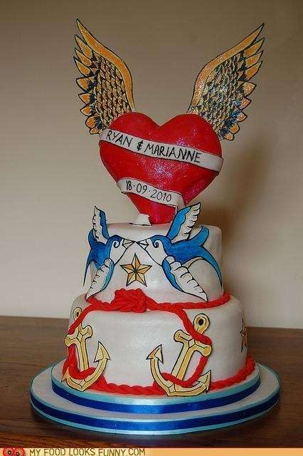 anchors cake epicute heart sailor swallows tattoos wedding - 4850417664