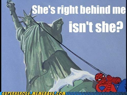 behind you Saturday Morning Cartoons Spider-Man Statue of Liberty - 4850824704