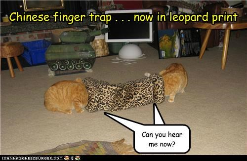 Chinese finger trap . . . now in leopard print Cleverness Here Can you hear me now?
