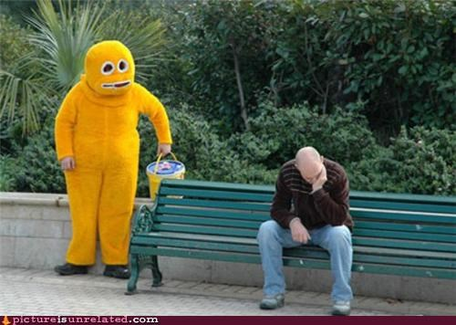 bench,costume,creature,creepy,guy,wtf,yellow