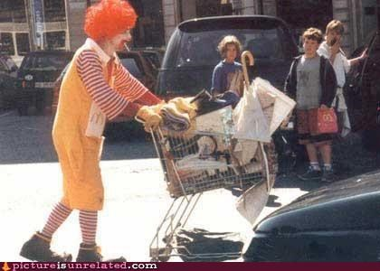 hobo,homeless,Ronald McDonald,wtf