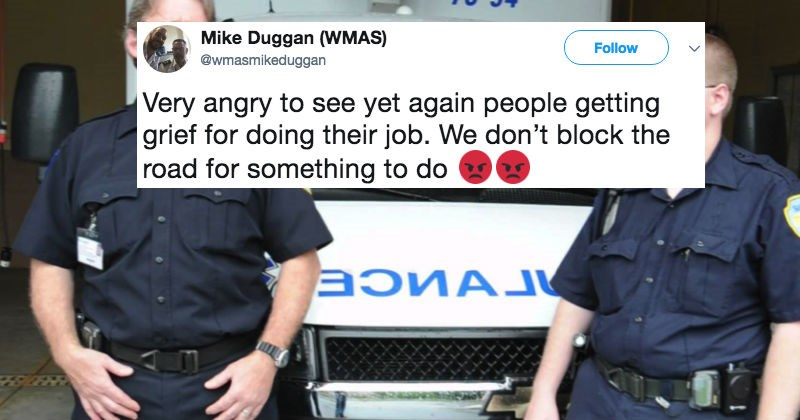 Paramedics left astounded by a neighbor's angry note about them being in the way while they were just doing their job.