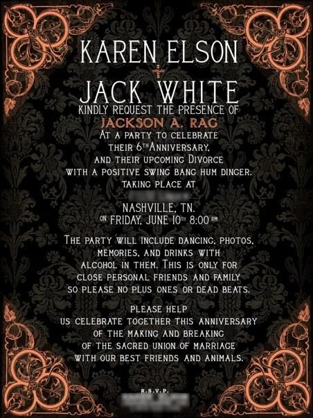 divorce party,jack white,Karen Elson,the white stripes