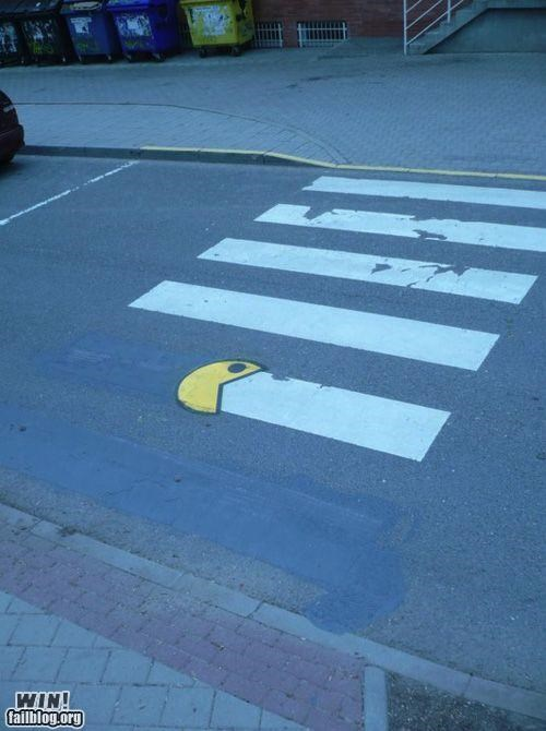 art,crosswalk,eating,hacked irl,pacman,street
