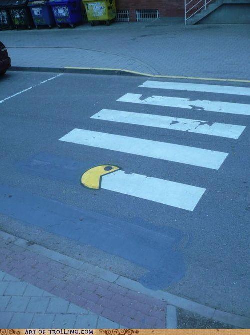 crosswalk IRL pac man win