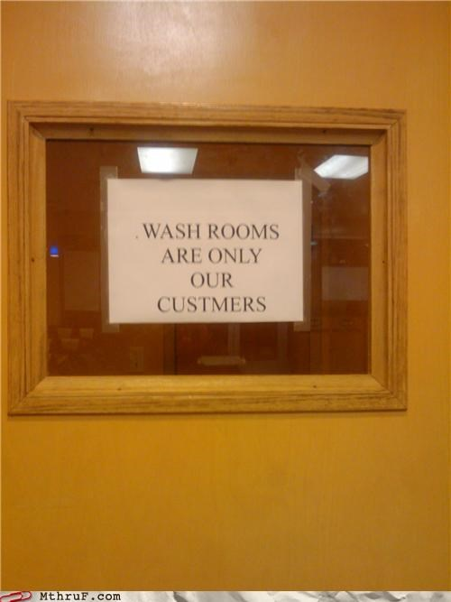bathroom engrish sign spelling