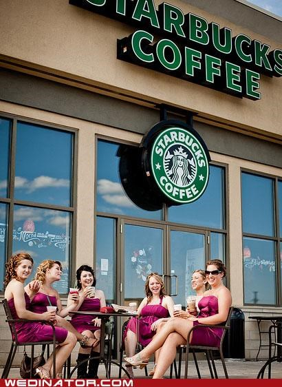 bridesmaids,caffeine,funny wedding photos,Starbucks