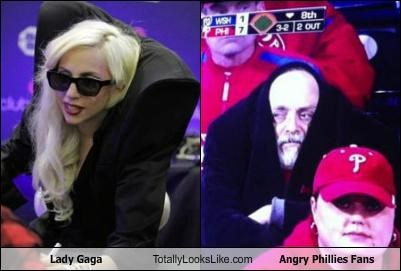 baseball,fans,lady gaga,musicians,Phillies,shoulders,sports