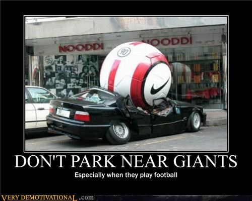 broken car,football,giant ball,giants,hilarious,parking,soccer