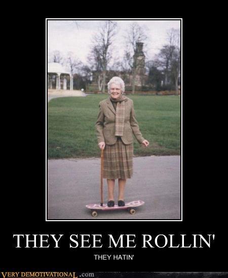 grandma hilarious rolling skateboard wtf - 4856084736