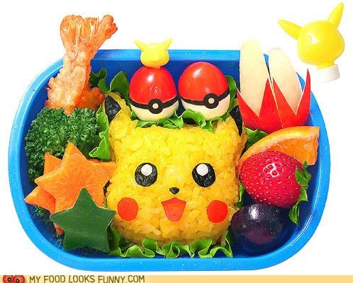 bento,cheese,fruit,pikachu,Pokémon,rice,shrimp,vegetables
