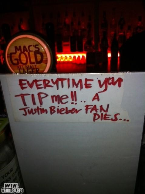 clever justin bieber Music not a fan tip jar - 4859181312