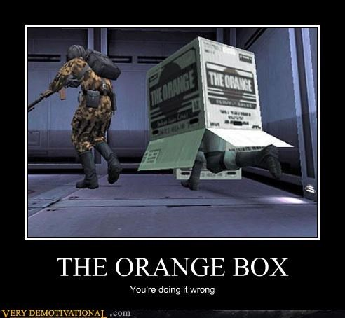 box,hilarious,metal gear solid,orange box,snake