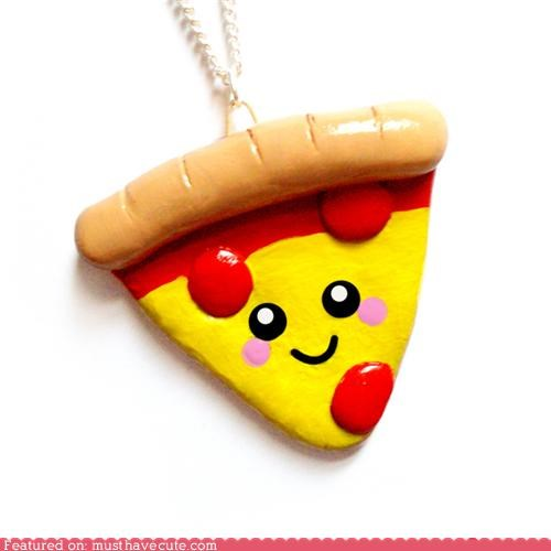 accessories chain cheese face happy Jewelry necklace pendant pepperoni pizza - 4861685504