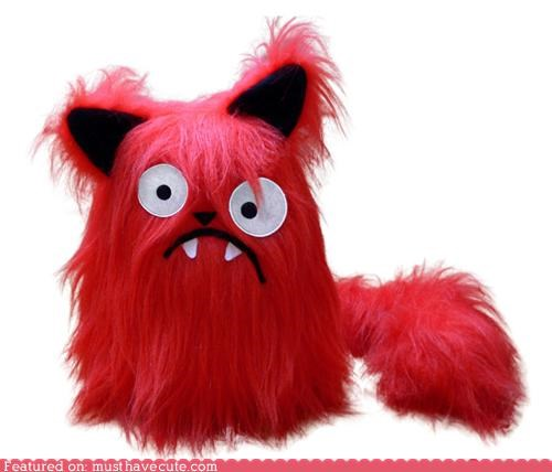 cat,clueless,crooked,faux fur,fuzzy,Plush,red,wonky