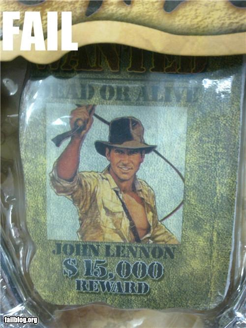 celeb failboat g rated Indiana Jones john lennon knock offs - 4862760192
