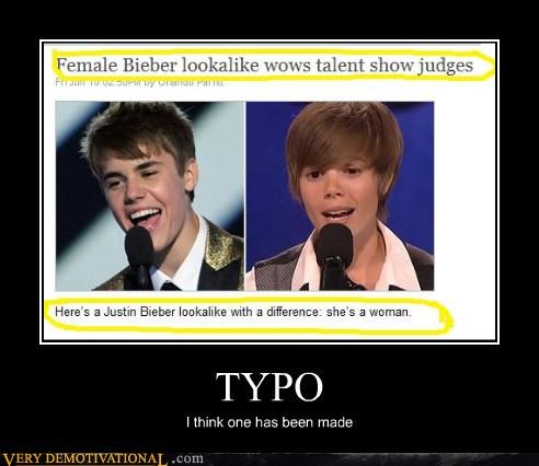 difference hilarious justin bieber lady man typo - 4863089408