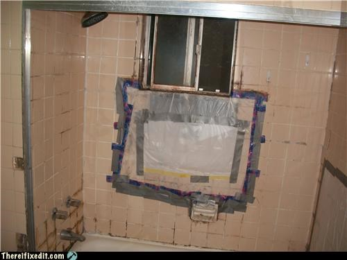 bathroom,duct tape,gross,shower