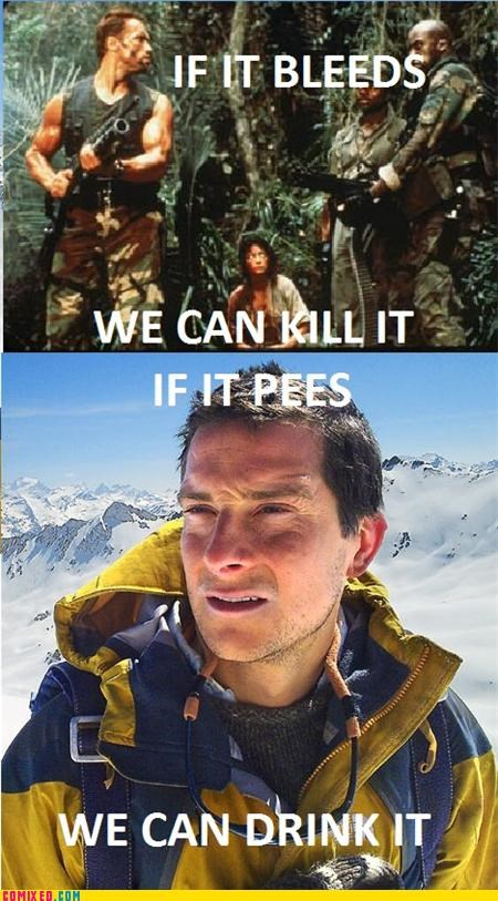 bear grylls,Blood,pee,Predator,TV