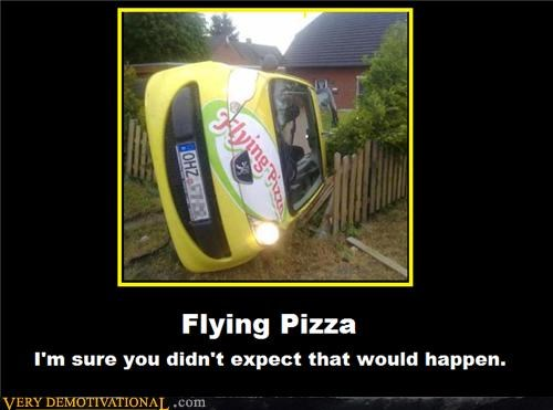 car flying crash hilarious pizza wtf - 4863421440